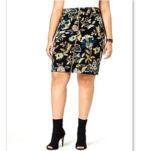 INC Macy's Plus Zipper Front Ponte Knit Mini Skirt